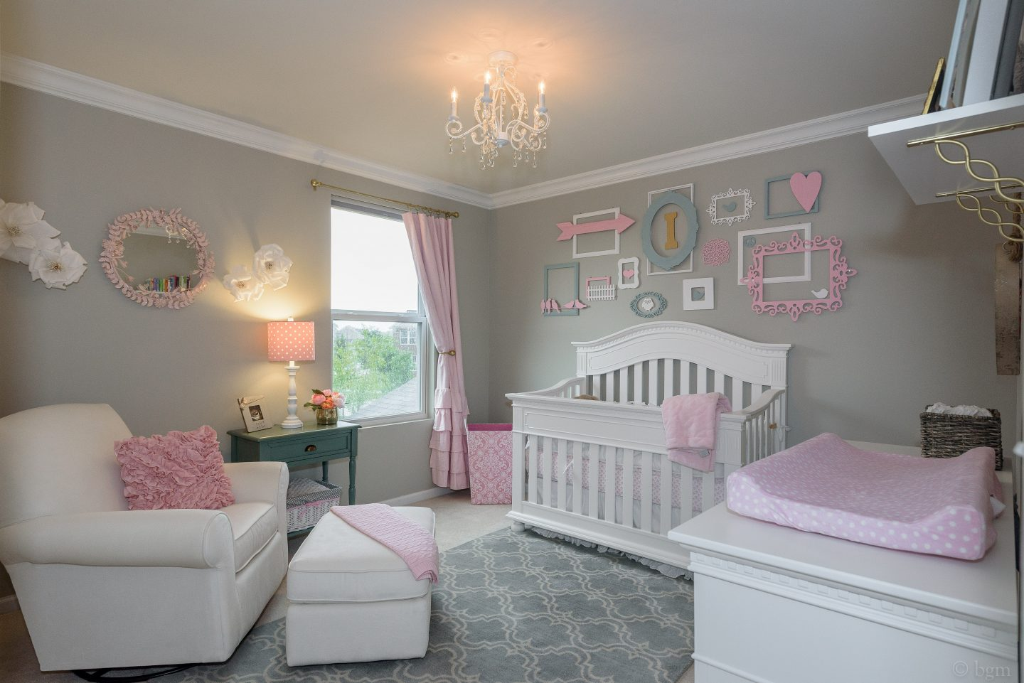 nursery with bedroom for and wallpaper end high pearl arts framed room decor baby pink wall chandelier celebrity ceiling
