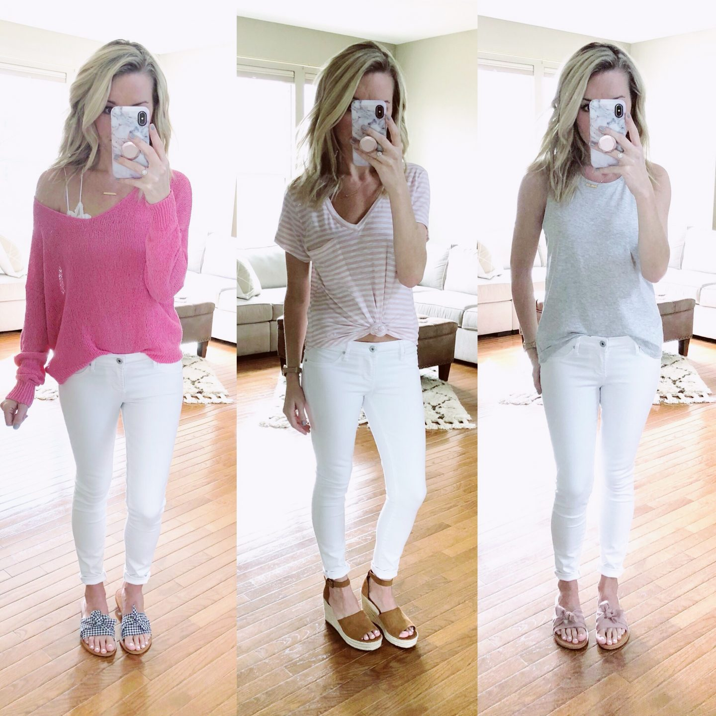 3 ways to transition white denim into spring